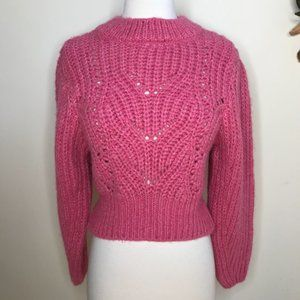 Topshop Cropped Cableknit Puff Sleeve Sweater Pink Size Small NWT